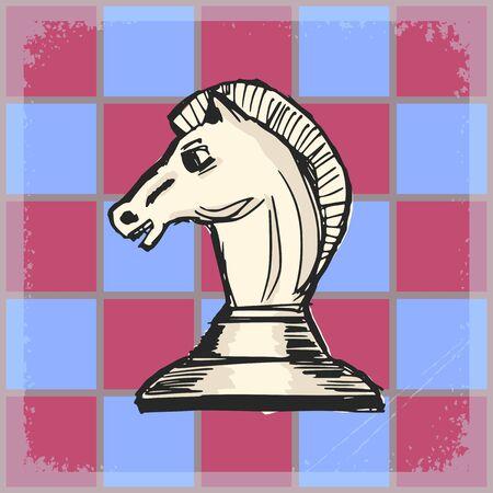 caballo de ajedrez: , fondo del grunge de la vendimia con caballo de ajedrez