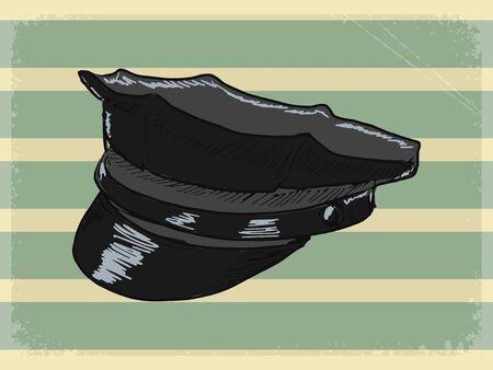 peaked cap: vintage, grunge background with police peaked cap