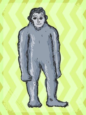 bigfoot: vintage, grunge background with bigfoot Illustration