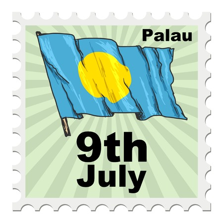 post stamp: post stamp of national day of Palau Illustration