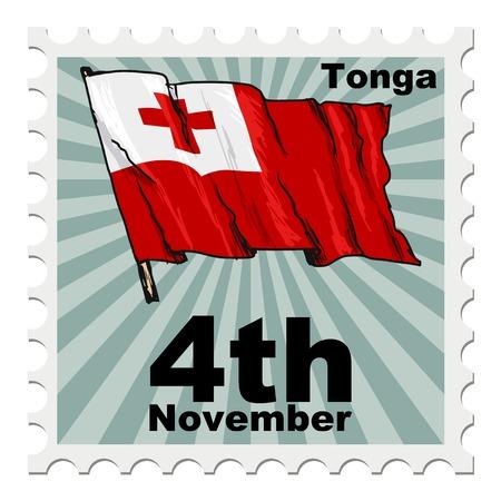 post stamp: timbro postale di giornata nazionale di Tonga Vettoriali