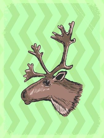 caribou: vintage, grunge background with caribou