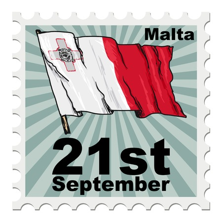 malta: post stamp of national day of Malta