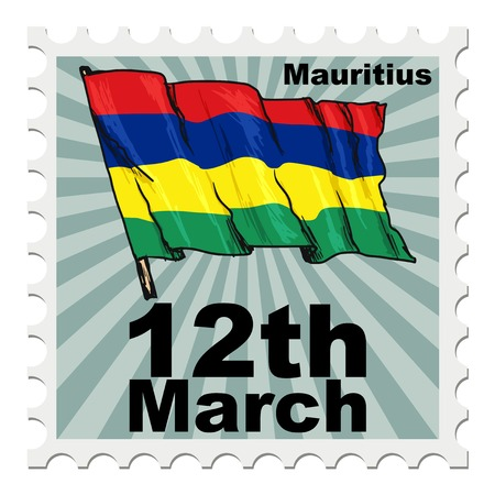 national day: post stamp of national day of Mauritius