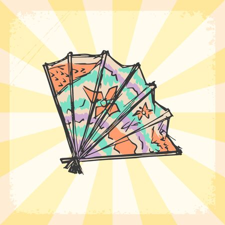 japanese fan: vintage, grunge background with Japanese fan