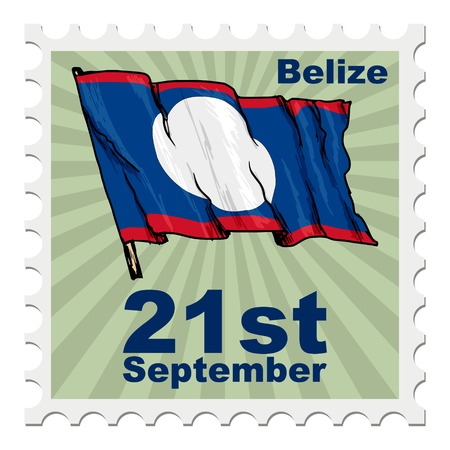 belize: post stamp of national day of Belize