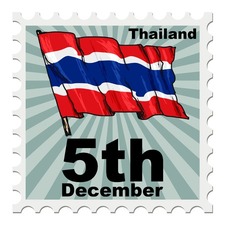 post stamp: post stamp of national day of Thailand Illustration