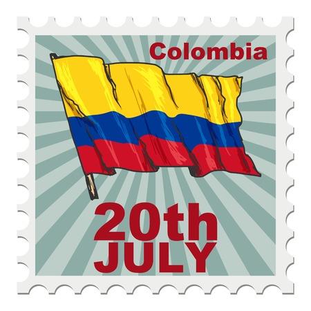 post stamp: timbro postale di giornata nazionale della Colombia Vettoriali