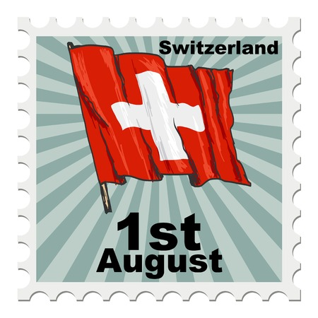 national day: post stamp of national day of Switzerland
