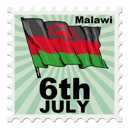 post stamp: post stamp of national day of Malawi Illustration