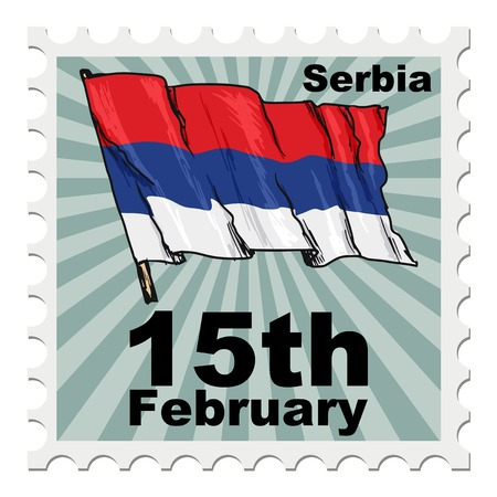national day: post stamp of national day of Serbia