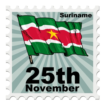 suriname: post stamp of national day of Suriname Illustration