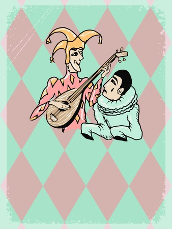 pierrot: vintage, grunge background with Harlequin and Pierrot
