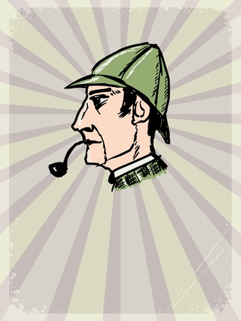 literary characters: vintage, grunge background with inspector