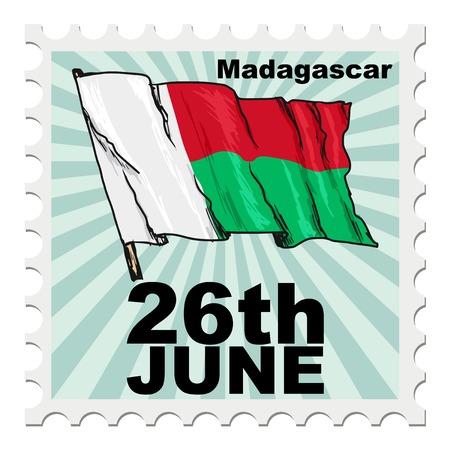 post stamp of national day of Madagascar Иллюстрация