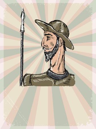 vintage, grunge background with Don Quixote Illustration