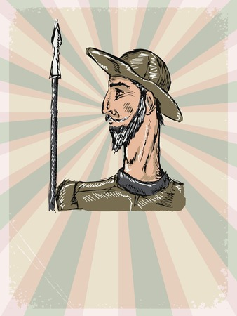 don: vintage, grunge background with Don Quixote Illustration