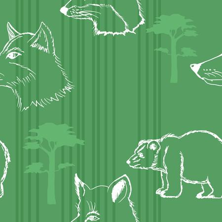 animales del bosque: muestra de fondo sin fisuras con los animales del bosque