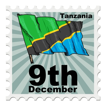 post stamp: post stamp of national day of Tanzania Illustration