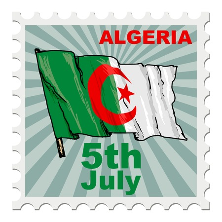 national day: post stamp of national day of Algeria Illustration