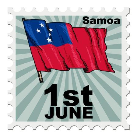 post stamp: post stamp of national day of Samoa Illustration