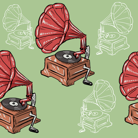 phonograph: sample of seamless background with vintage phonograph Illustration