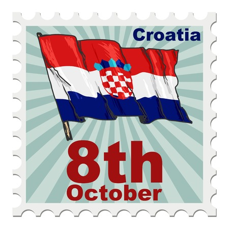 national day: post stamp of national day of Croatia Illustration