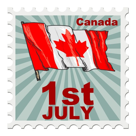 canada stamp: post stamp of national day of Canada Illustration