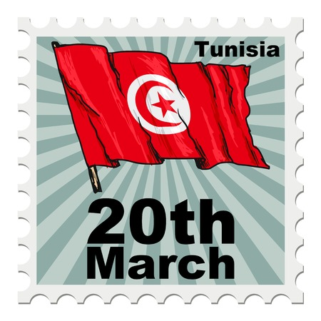 tunisia: post stamp of national day of Tunisia