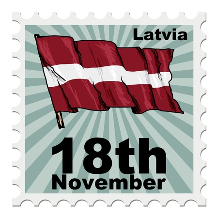 latvia: post stamp of national day of Latvia