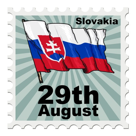 national day: post stamp of national day of Slovakia