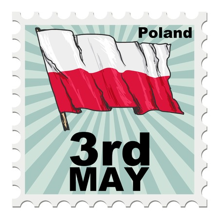 national day: post stamp of national day of Poland Illustration