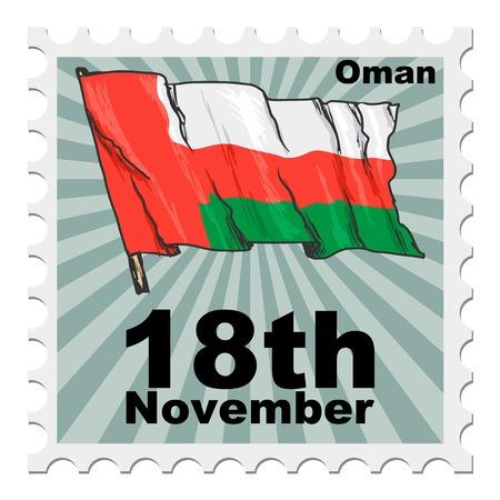 post stamp: post stamp of national day of Oman Illustration