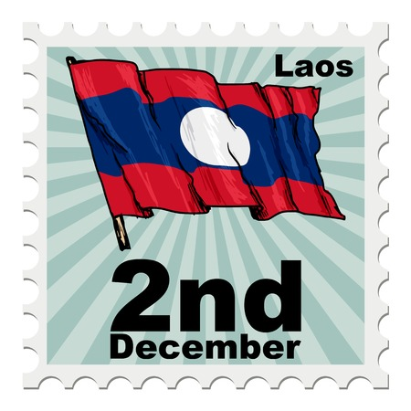post stamp: post stamp of national day of Laos Illustration