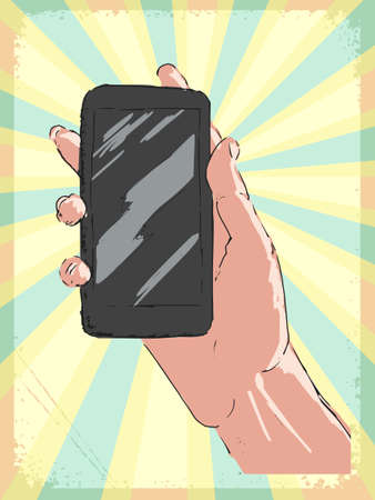 smartphone in hand: vintage, grunge background with hand with smartphone