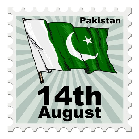 flag of pakistan: post stamp of national day of Pakistan