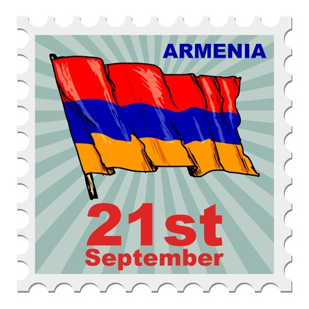 national day: post stamp of national day of Armenia Illustration