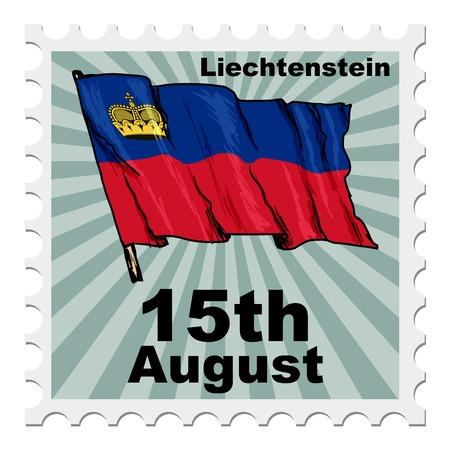 national day: post stamp of national day of Liechtenstein