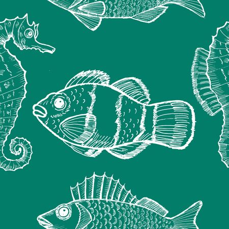 underwater life: sample of seamless background with underwater life
