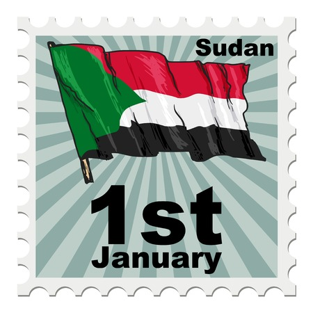 national day: post stamp of national day of Sudan