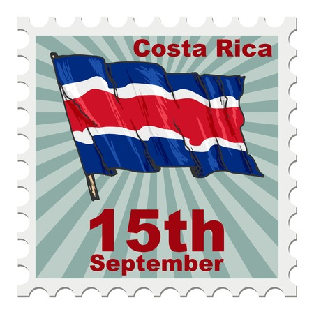 post stamp of national day of Costa Rica Illustration
