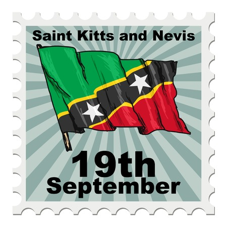 national day: post stamp of national day of Saint Kitts and Nevis Illustration