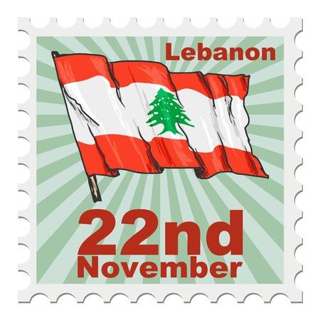 national day: post stamp of national day of Lebanon Illustration