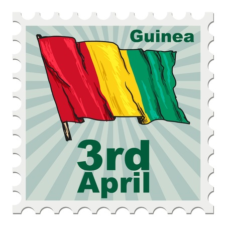 national day: post stamp of national day of Guinea Illustration
