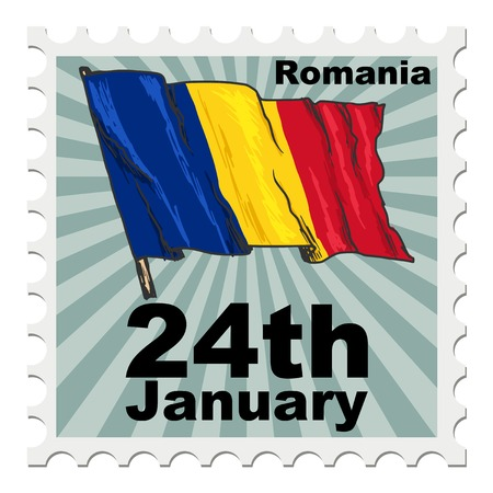 national day: post stamp of national day of Romania