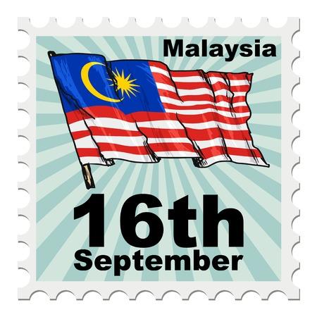 nacional: puesto sello del día nacional de Malasia Vectores