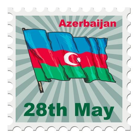 post stamp: timbro postale di giornata nazionale dell'Azerbaigian Vettoriali