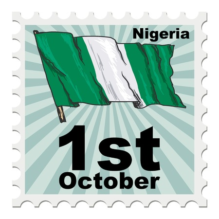 post stamp: post stamp of national day of Nigeria Illustration