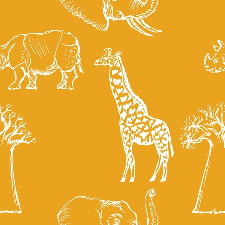 sample of seamless background with African animals