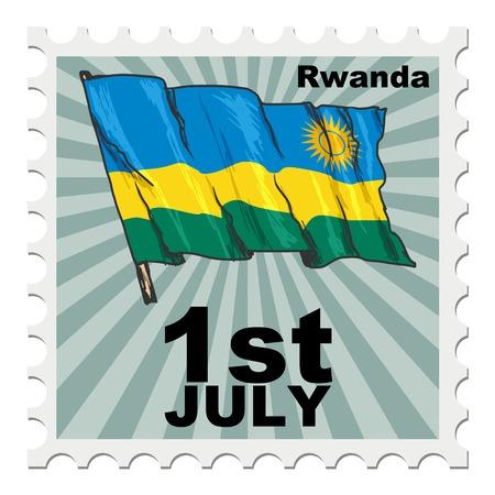 post stamp: timbro postale di giornata nazionale del Ruanda Vettoriali